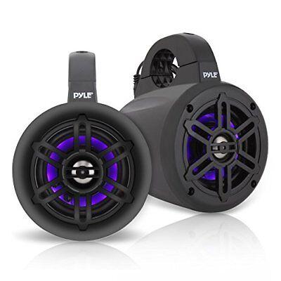 """Pyle Black 4"""" Waterproof Marine Wakeboard LED Tower Speakers (Pair)"""