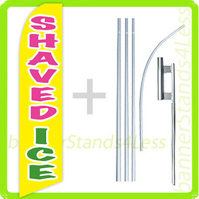 Shaved Ice Swooper Flag Kit Feather Flutter Banner Sign 15 Tall - Yb