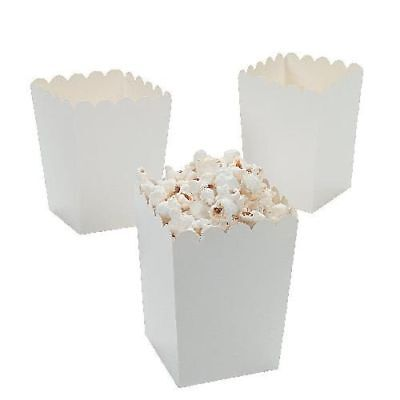 Mini Small Popcorn Boxes White Snack Containers Party Paper Treats Movie 24 Pack