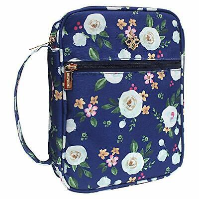 Large Floral Fabric Bible Cover Case for Women Zip Pocket and Inner 10x7.5x2.5in