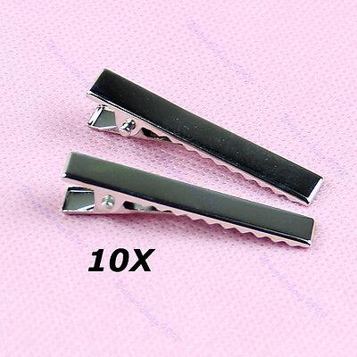 Metal Girls Hair Bows Alligator Clips Korker with Teech Clip for DIY Sliver 10PC (Sliver Hair)