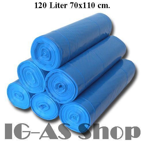 bis 2000 Müllsäcke Blau 120 Liter Typ 60 70x110cm Abfallbeutel Abfallsäcke