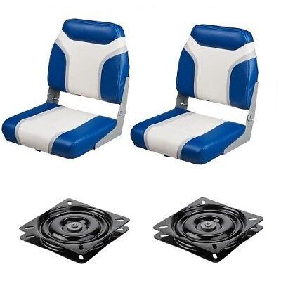 2 Blue Folding Boat Seats & Swivels Low Back Uv Vinyl Seat Fishing Bass -