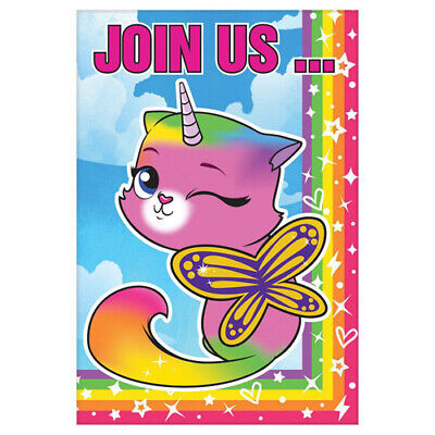 RAINBOW BUTTERFLY UNICORN KITTY INVITATIONS (8) ~ Birthday Party Supplies Cards](Butterfly Birthday Invitations)