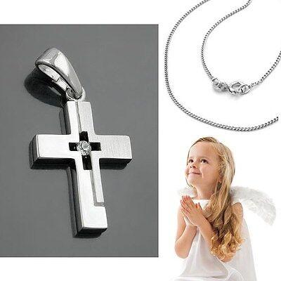 Baby Taufe Kinder Kommunion weißer Zirkonia Kreuz Anhänger Silber 925 mit Kette