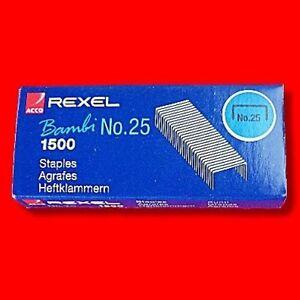 BOX 1500 REXEL NO 25 SMALL MINI STAPLES FOR BAMBI STAPLER REFILL