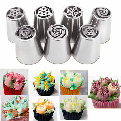 7X Russian Flower Icing Piping Baking Nozzles Cake Diy Decorating Tips Tools Kit