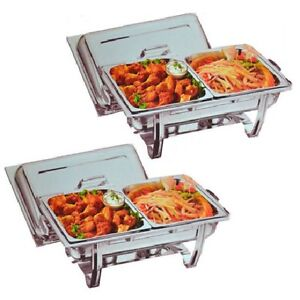 PACK TWO CHAFING DISHES WITH TWIN FOOD PANS