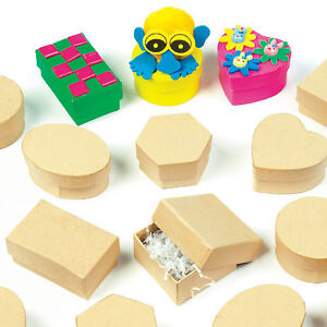 Mini Plain Strong Board Craft Boxes for Kids to Decorate for Gifts (Pack of 12)