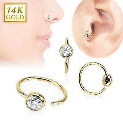 14K Gold CLEAR Gem Stud HOOP Nose Ring Ear Tragus Cartilage Helix Piercing Jewel