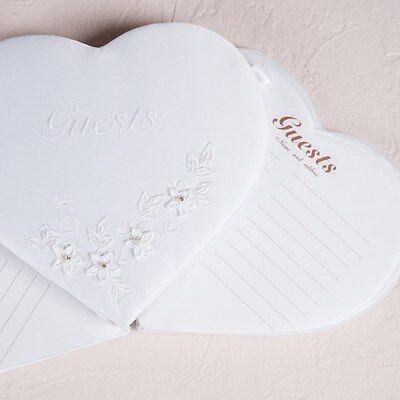 Libro de Invitados Boda Romántico Forma de Corazón Blanco Cuenta Adornado
