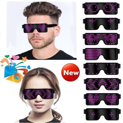 US LED Glasses Light Up Glow Flashing Sunglasses Eyewear Nightclub Party 8 (Glow Glasses)