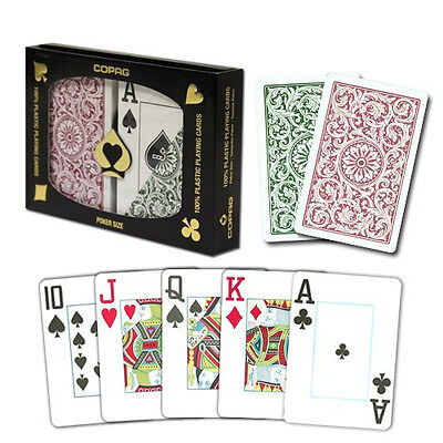 (New COPAG Plastic Playing Cards Poker Size Jumbo Index Burgundy Green FREE CUT)