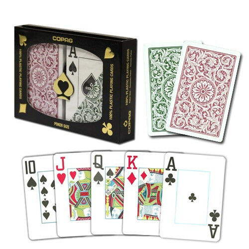 New COPAG Plastic Playing Cards Poker Size Jumbo Index Burgundy Green FREE CUT