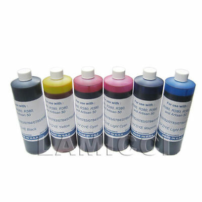 6 color x 1000cc Dye refill ink for CISS cartridge refill Epson R260 R280 R380 for sale  Shipping to India