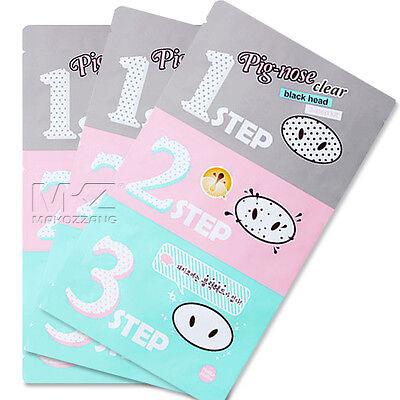 Holika Holika Pig-Nose Clear Black Head 3-Step Kit (x 3 sheets) Korean Cosmetic