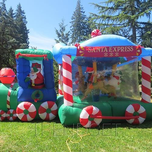 Christmas decoration inflatable santa express train