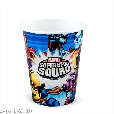MARVEL SUPER HERO SQUAD 9oz PAPER CUPS (8) ~ Birthday Party Supplies Tableware (Super Hero Squad Party Supplies)