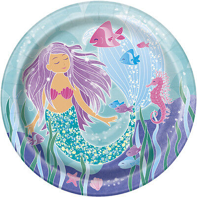 MERMAID LARGE PAPER PLATES (8) ~ Birthday Party Supplies Dinner Lunch Beach Sea - Birthday Paper