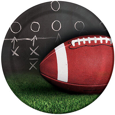 FOOTBALL Sideline Strategy LARGE PAPER PLATES (8) ~ Birthday Party Supplies Boy