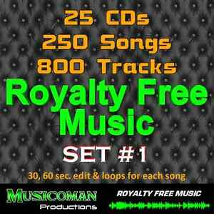 25 CDs Set #1 - ROYALTY FREE MUSIC 800 TRACKS - 250 SONGS - BUYOUT & STOCK MUSIC