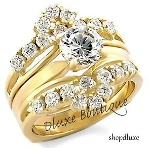brilliant aaa cz 14k gp wedding ring band set women 39 s size 5 12 ebay