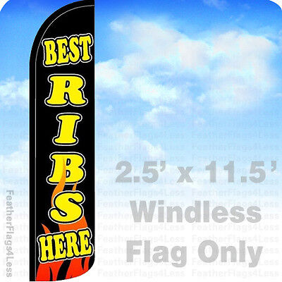 Best Ribs Here Windless Swooper Flag Bbq Feather Banner Sign 2.5x11.5 - Kz