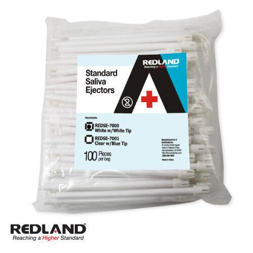 REDLAND Standard Saliva Ejectors White Flexible  1000/ Pk -FDA