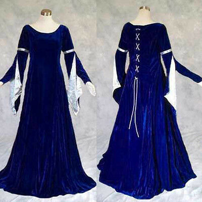 Blue Velvet Silver Satin Medieval Renaissance Gown Dress Cosplay LOTR Wedding 2X