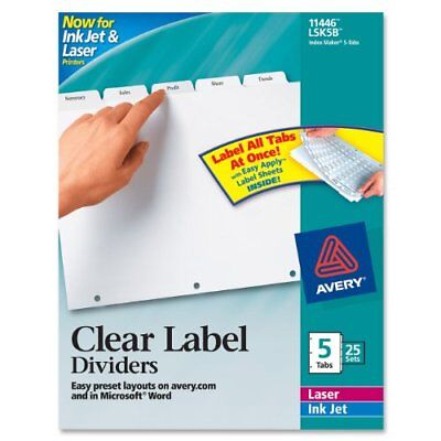 Avery Index Maker Clear Label Divider - Blank - 8.50 X 11 - 125 Ave11446