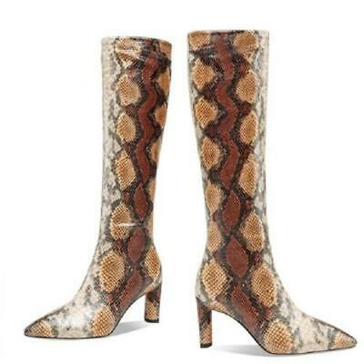 Details about  /Sexy Women Snakeskin Printed Pointy Toe High Heel Stiletto Knee High Party Boots