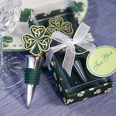 Shamrock Trinity Love Knot Wine Bottle Stopper Wedding Favor Celtic Irish Drink