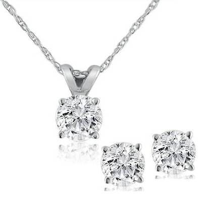 Diamond Solitaire Necklace & Studs Earrings Set 3/4 Carat tw 14K White -