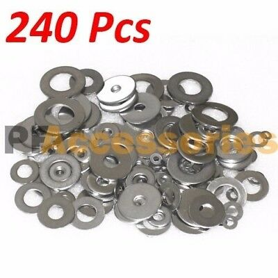 "240 Pcs Zinc Plated Steel Flat Washers Set Assortment Kit 3 Size 1/2"" 5/8"" 11/16"