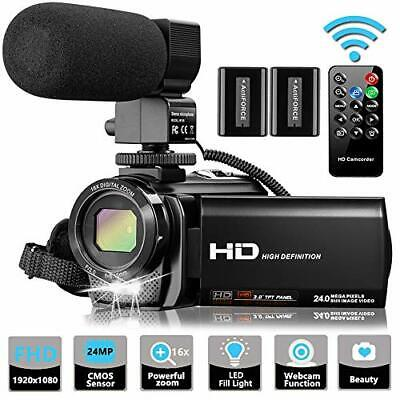 Video Camera Camcorder with Microphone, VideoSky FHD Vlogging YouTube Streaming