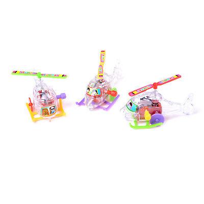 2Pcs Mini Clockwork Transparent Aircraft Somersault Running Wind Up Toy HF ES