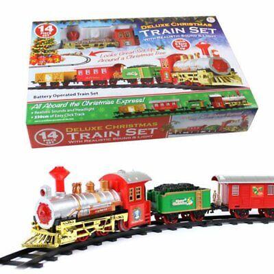 Christmas Train Set Track Musical Sound Lights Around Tree Decoration Santa