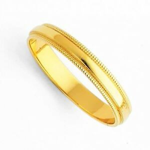 ... Men's Women's Solid 14K Yellow Gold Milgrain Wedding Ring Band 3MM