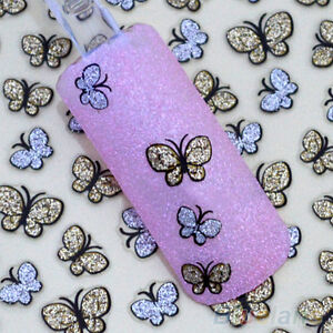 3D GLITTER BUTTERFLY NAIL ART STICKERS FRENCH MANICURE DECALS TIPS GOLD/SILVER
