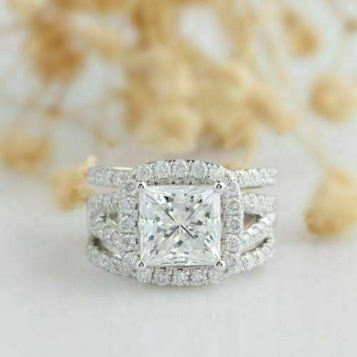 3.00 Ct Princess Cut Diamond Engagement Band Bridal Ring Set 14k White Gold Over
