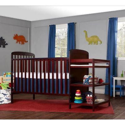 4-in-1 Baby Crib and Changing Suspend Combo Furniture Sentimental Dimension Cherry