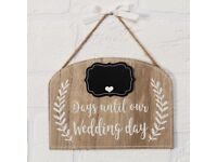 Wooden Wedding Countdown Plaque Sign String Ribbon and Chalkboard Shabby Chic Rustic Country bnwt