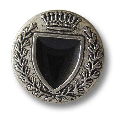 5 edle altsilberfb. Ösen Metallknöpfe mit schwarzem Wappen BWARE (4069si20)