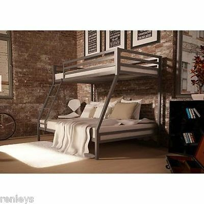 Twin over Full Bunk Beds Kids Boys Girls Bedroom Furniture w/ Ladder Loft Metal
