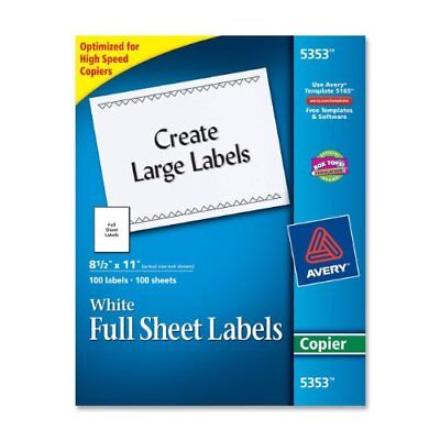 """Avery Copier Mailing Label - 8.50"""" Width X 11"""" Length - 100 / Box - (ave5353)"""
