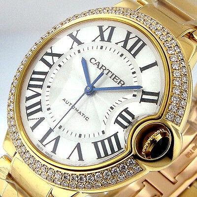 UNWORN CARTIER BALLON BLEU MID SIZE WE9004Z3 YELLOW GOLD 18K 37 mm DIAMOND BEZEL