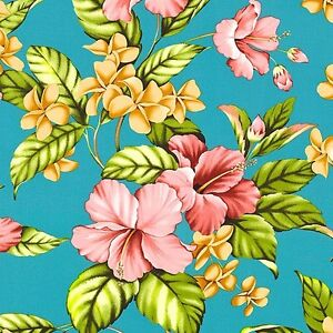 Hibiscus & Plumeria Bouquet - Bahama Blue -Trans Pacific Textiles, RAYON fabric