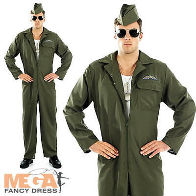 Military Pilot Jumpsuit Mens Fancy Dress Army Air Force Uniform Adults Costume  (Military Pilot Kostüm)