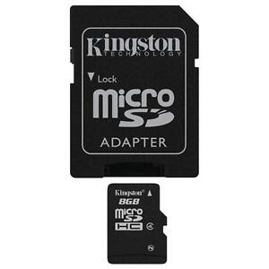 Kingston 8GB MICRO SDHC MEMORY CARD WITH SD ADAPTER TF HC MICROSD