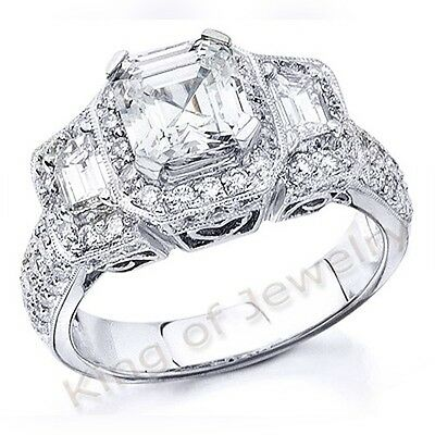 3.35 Ct Asscher Cut,Trapezoid & Round Halo Diamond Engagement Ring 18K GIA G,VS1